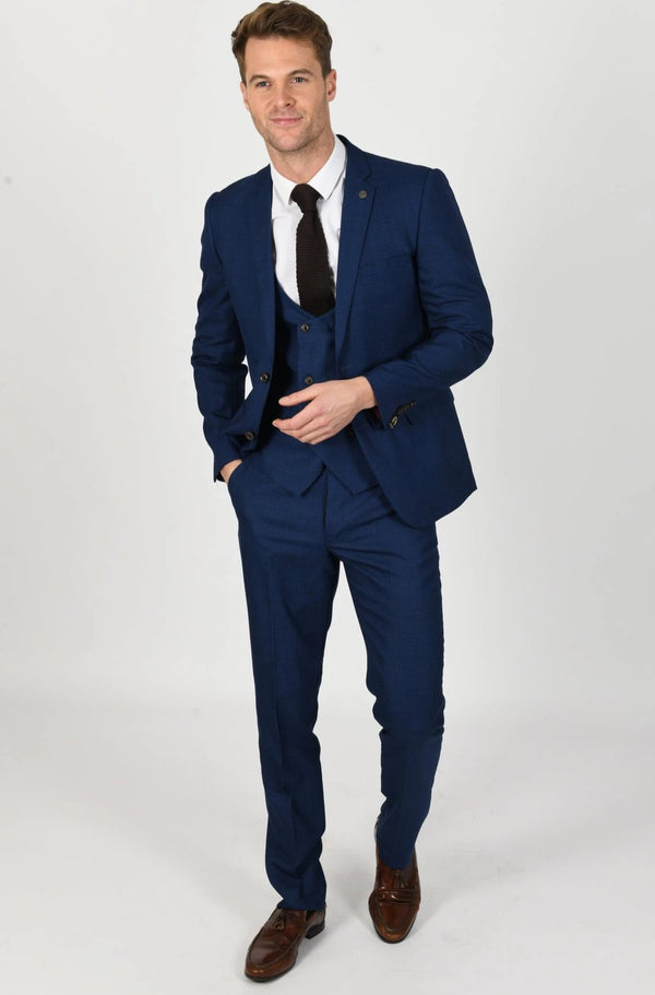 George Royal Blue Check Three Piece Suit | Marc Darcy - Mens Tweed Suits