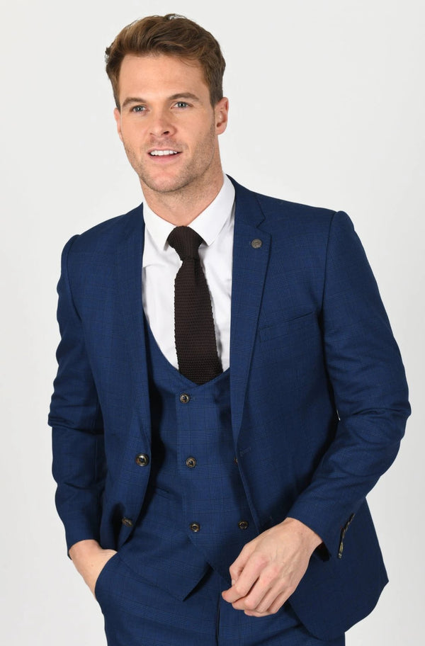George Royal Blue Check Three Piece Suit | Marc Darcy  | Mens Tweed Suits