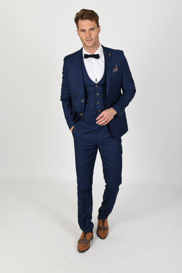 Marcelo Navy Check Summer Wedding Suit - Mens Tweed Suits