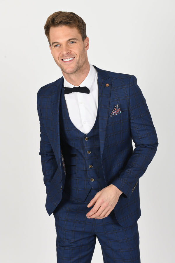 Marcelo Navy Check Suit | Robert Simon - Mens Tweed Suits
