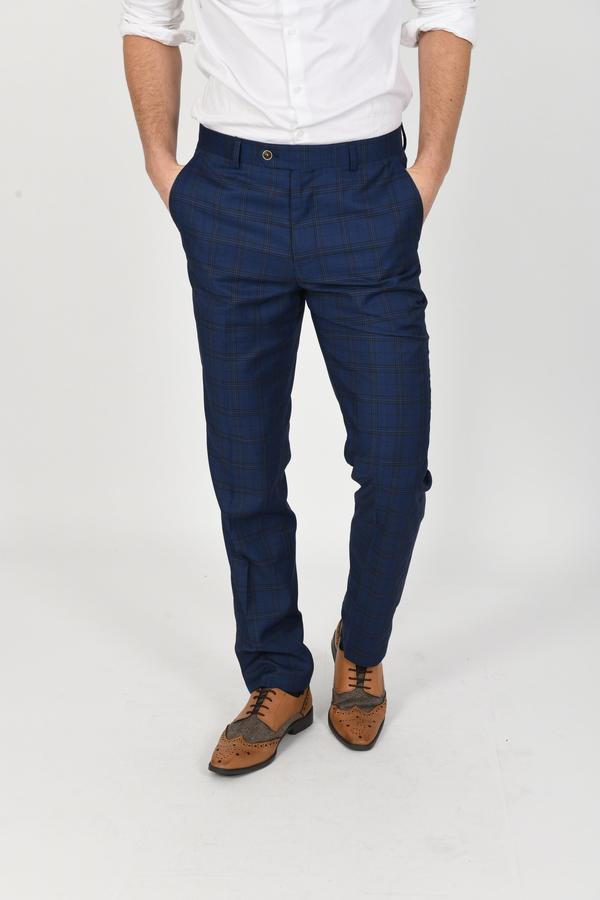 Marceloo Navy Check Trousers - Mens Tweed Suits