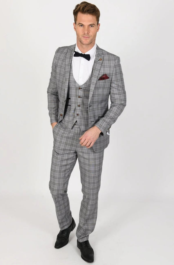 Marcelo Grey Check Suit | Robert Simon - Mens Tweed Suits