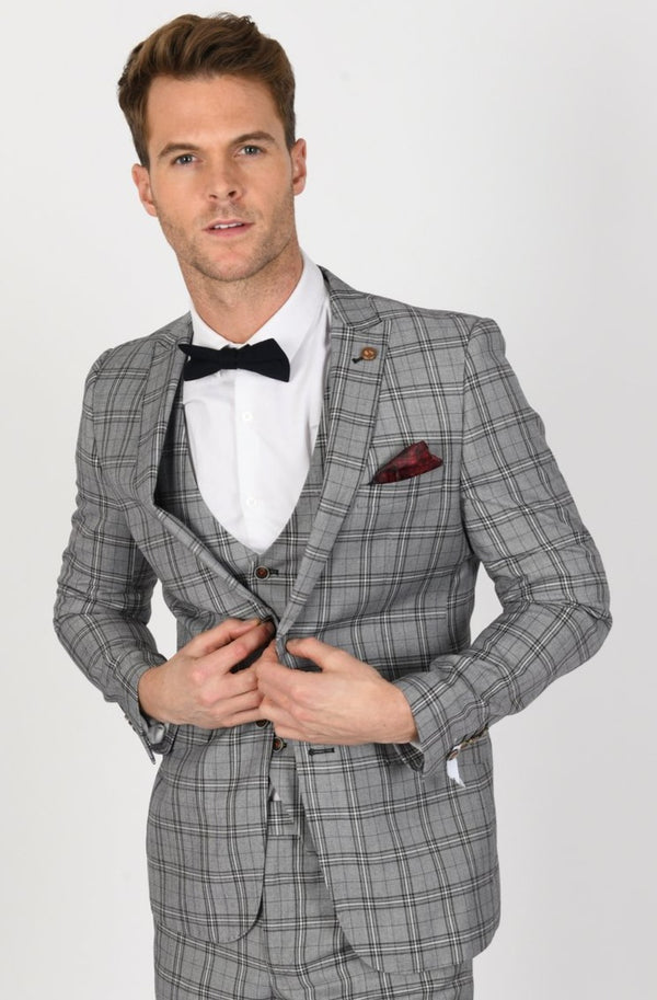 Grey Check Mens Wedding Suit by Robert Simon | Menstweedsuits