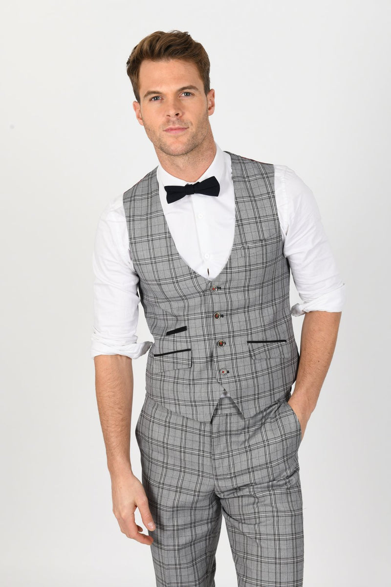 MARCELO GREY CHECK PEAKY BLINDER SUIT - Mens Tweed Suits
