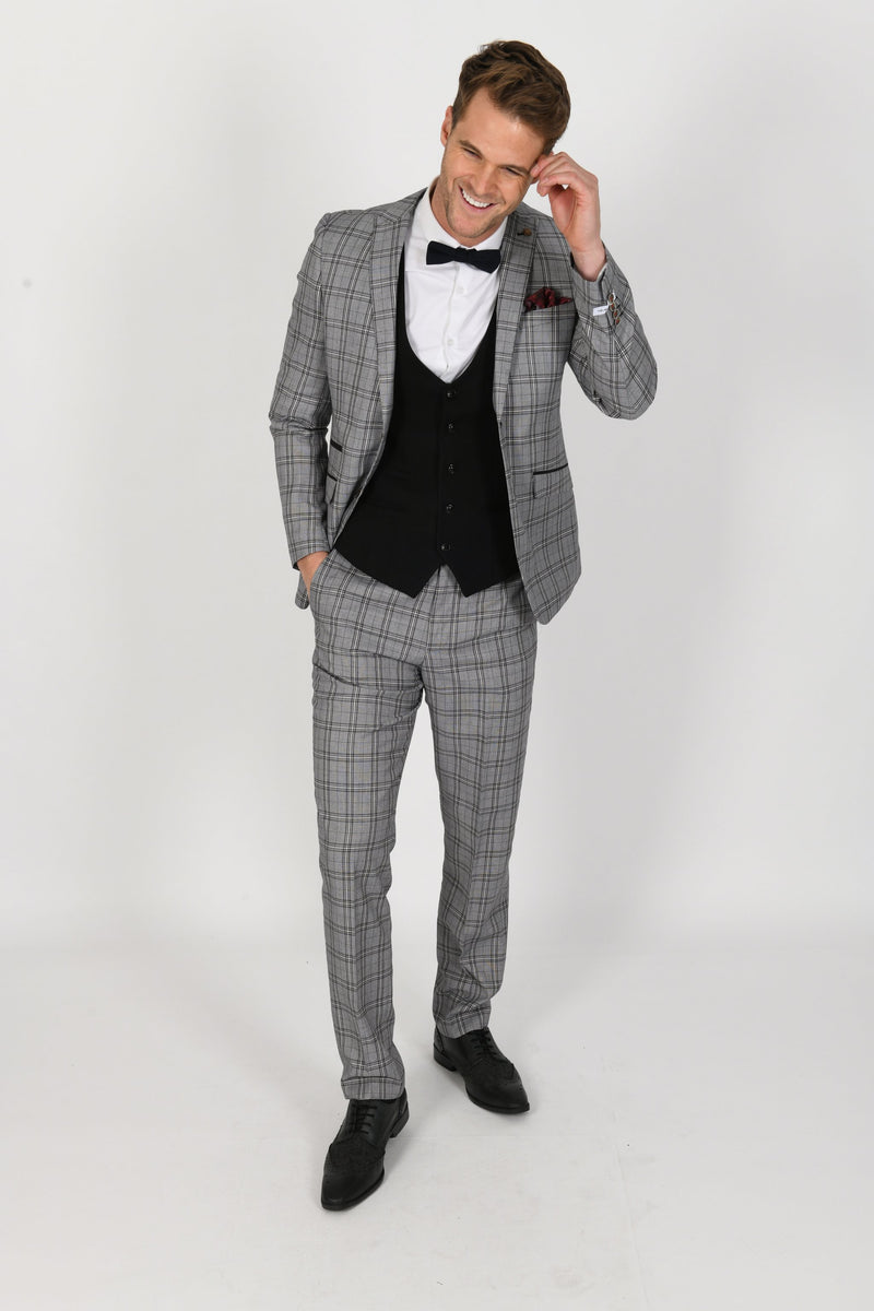 GREY SUIT W/ KELLY BLACK WAISTCOAT | MENS TWEED SUITS