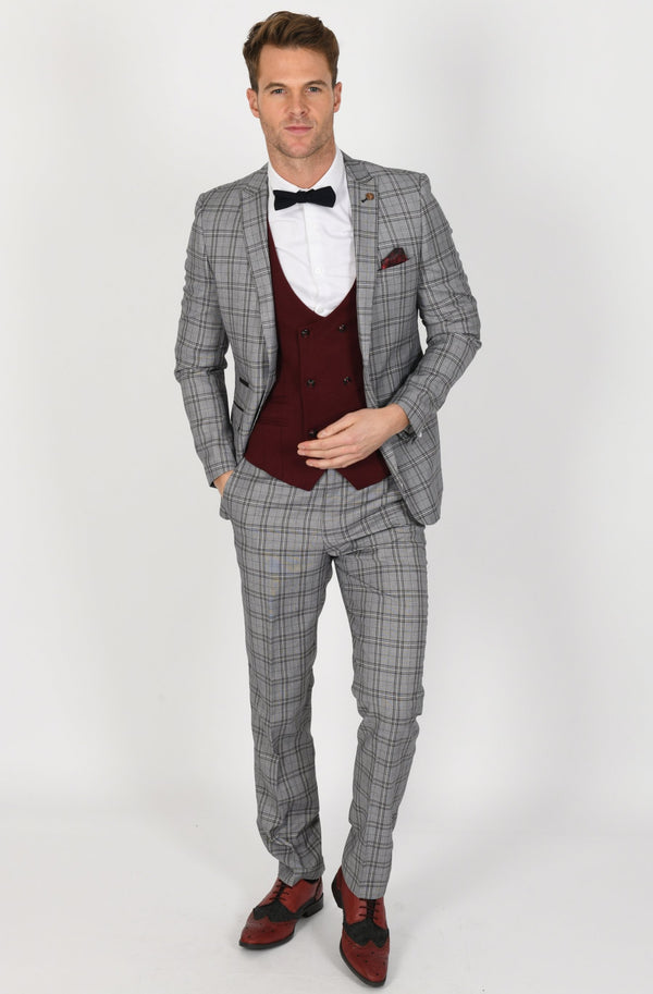 GREY CHECK SUIT WITH KELLY WINE WAISTCOAT | MENS TWEED SUITS