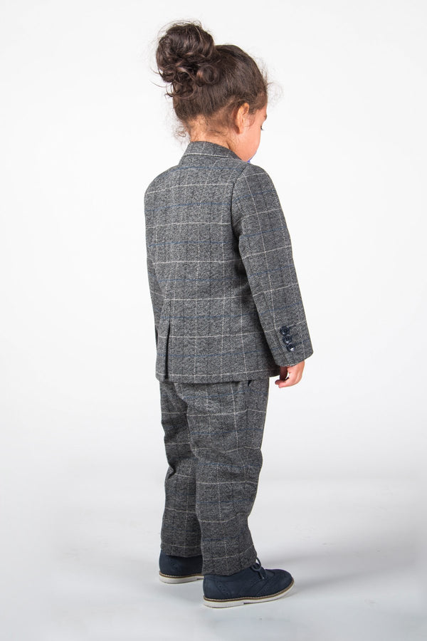 SCOTT - Boys Grey Check Three Piece Suit | Marc Darcy - Mens Tweed Suits