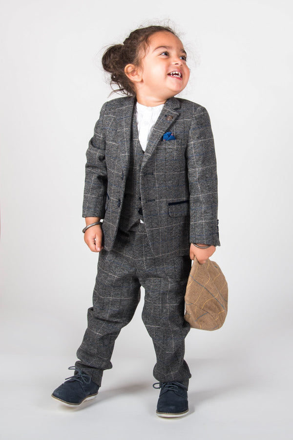 SCOTT - Boys Grey Check Three Piece Suit | Marc Darcy menstweedsuits tweed shop buy london fashion 2018 2019