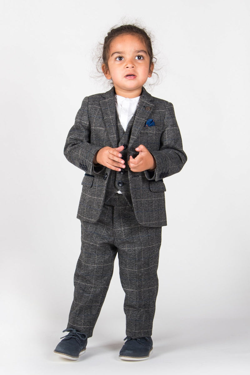 SCOTT - Boys Grey Check Three Piece Suit | Marc Darcy menstweedsuits tweed shop buy london 2019