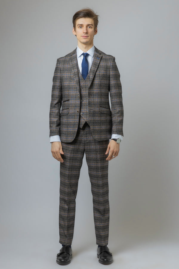 Sebastian Grey Double Breasted Waistcoat Tweed Suit
