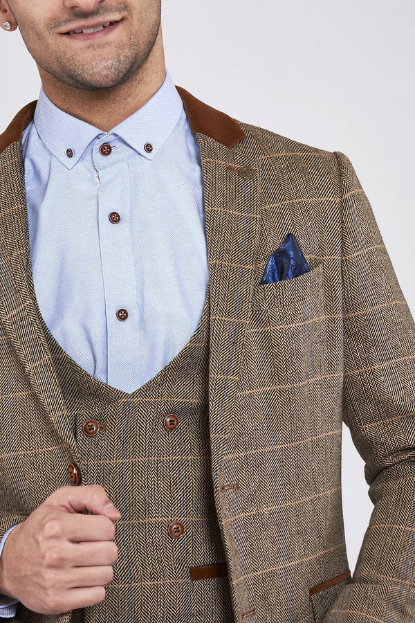 Brown Tweed Jackets and Waistcoats | Mens Tweed Suits | Marc Darcy Suits