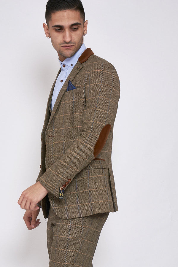DX7 Brown Tweed Jacket and Double Breasted Waistcoat Set - Mens Tweed Suits