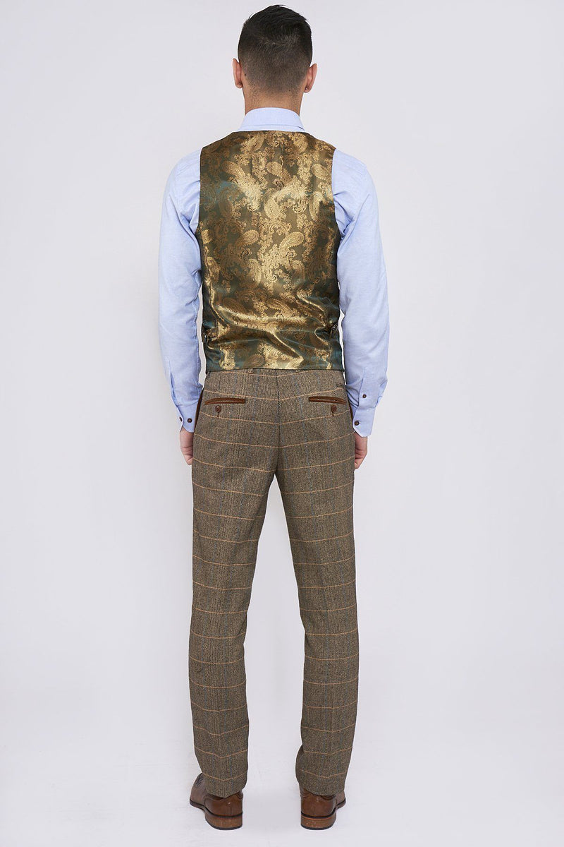 DX7 Tan Tweed Suit With Double Breasted Waistcoat - Mens Tweed Suits