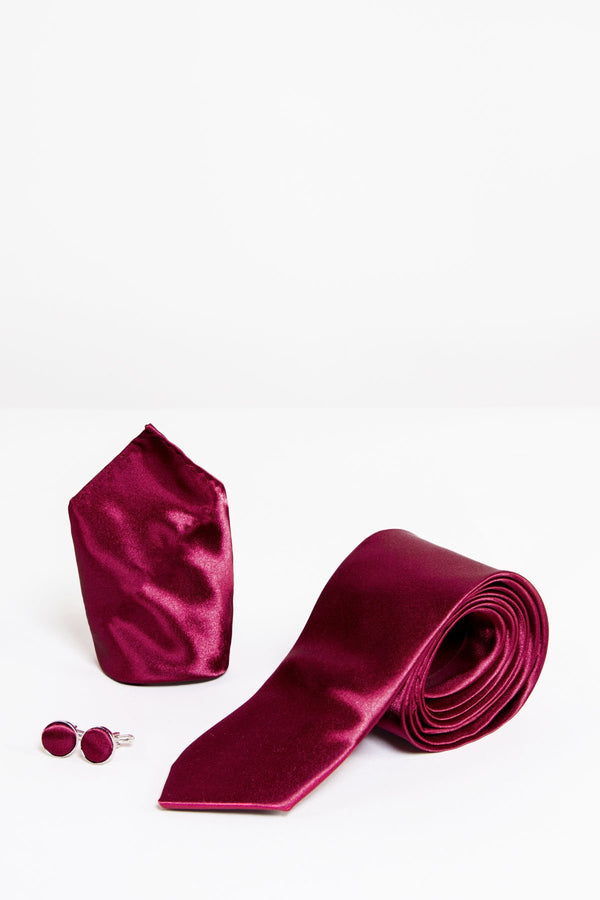 Wine Satin Tie Set | Wedding Ties & Accessories | Mens Tweed Suits
