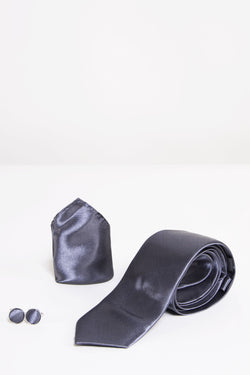 ST Charcoal Satin Tie, Cufflink & Pocket Square - Mens Tweed Suits