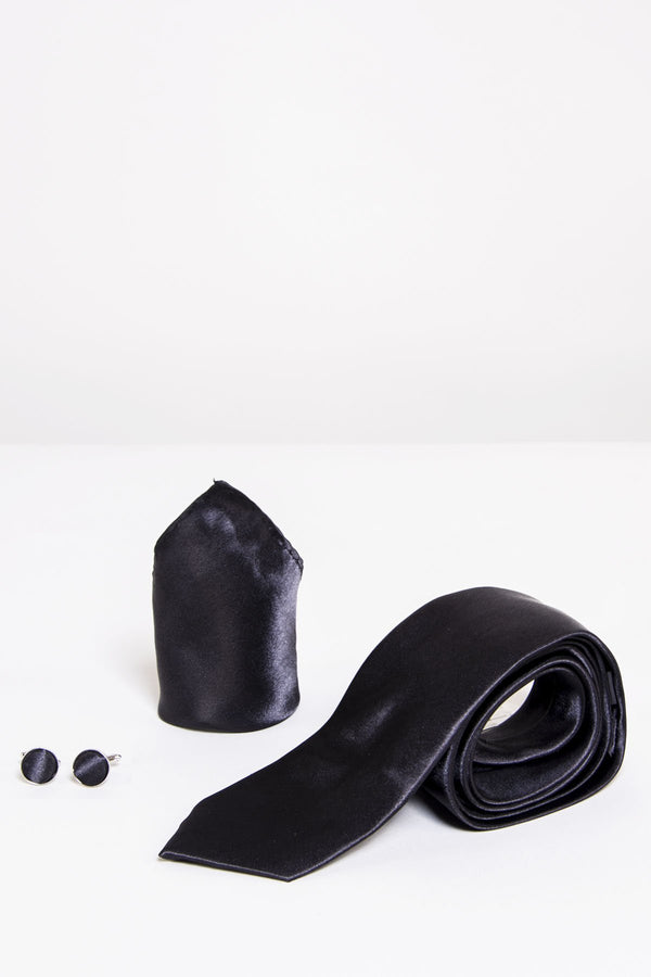 Plain Black Satin Tie Set | Wedding Ties & Accessories | Mens Tweed Suits