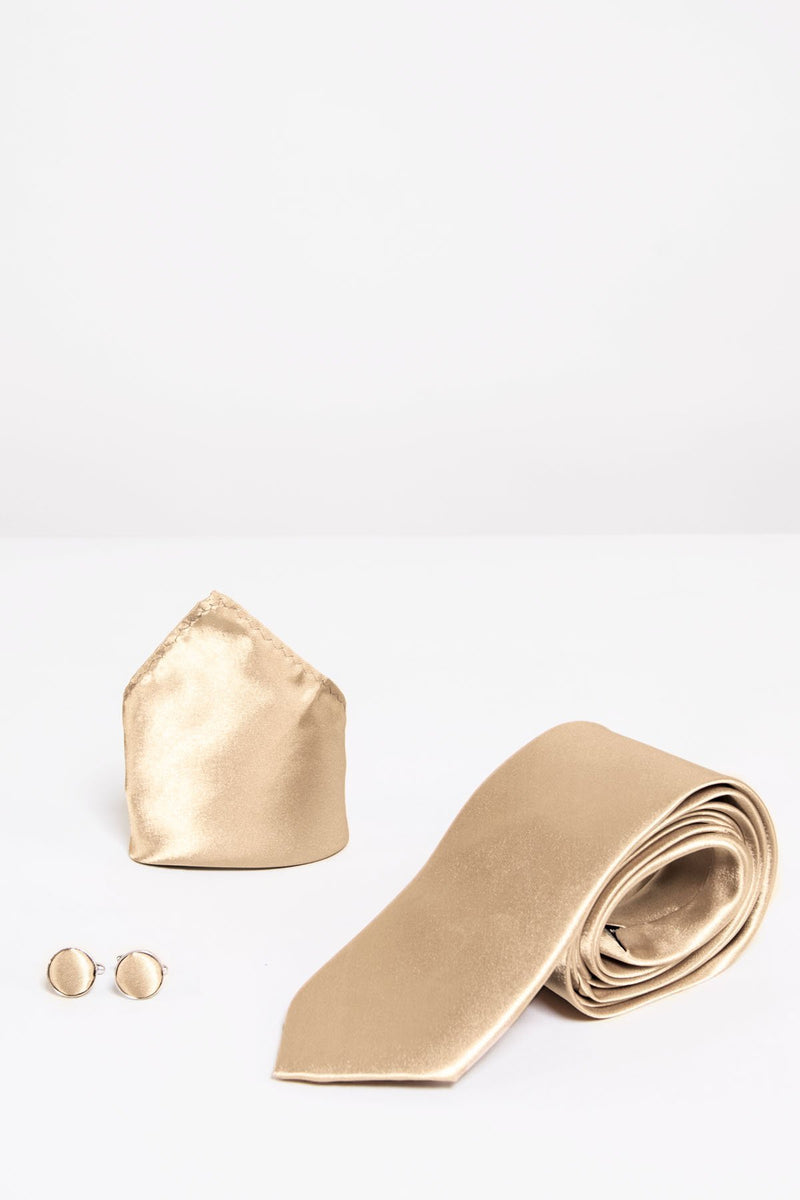ST Gold Satin Tie, Cufflink & Pocket Square - Mens Tweed Suits