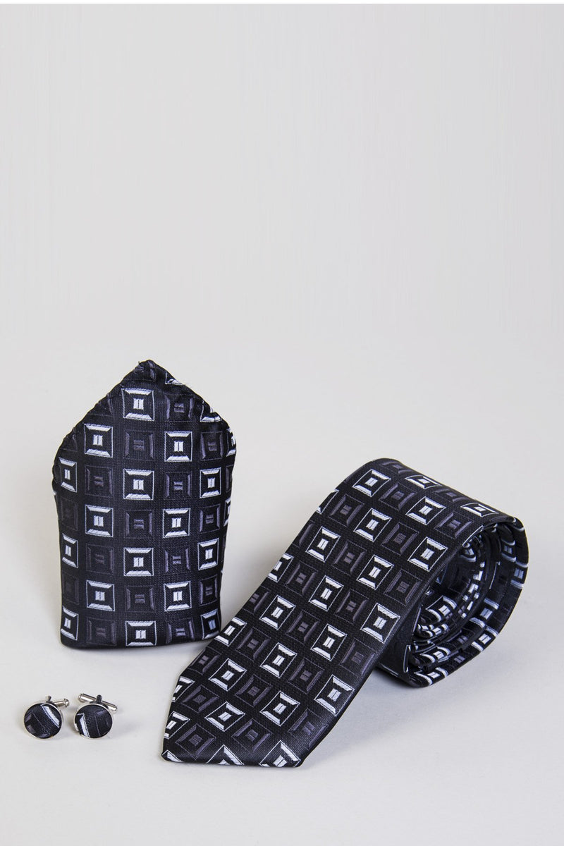 TB10 Charcoal Square Tie, Cufflink & Pocket Square - Mens Tweed Suits