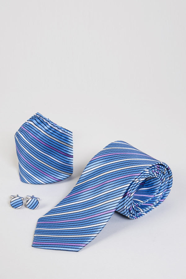 TB16 Sky Blue Stripe Print Tie, Cufflink & Pocket Square - Mens Tweed Suits