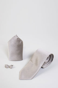 TB17 Tan Birdseye Tie, Cufflink & Pocket Square - Mens Tweed Suits