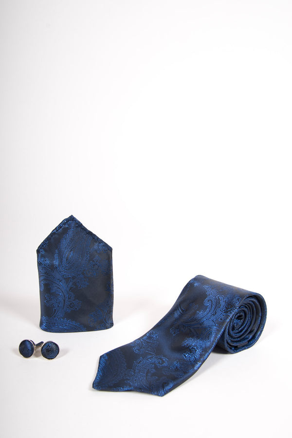 TS PAISLEY Navy Paisley Tie, Cufflink and Pocket Square - Mens Tweed Suits