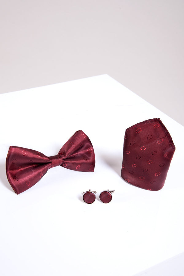 BT CIRCLES Wine Circle Print Bow Tie, Cufflink & Pocket Square - Mens Tweed Suits