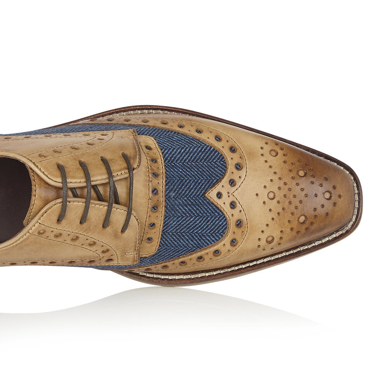Mens Navy Tweed Brogues Shoes | London Brogues Shoes | Mens Tweed Suits