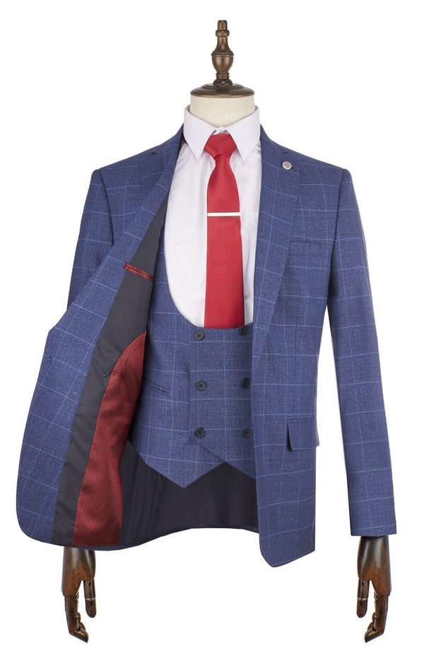 Borg Navy Check Suit - Mens Tweed Suits