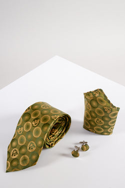 Bubble Gold Tie, Cufflink and Pocket Square