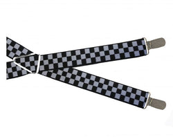 Black White Checks Clip On Braces - Mens Tweed Suits