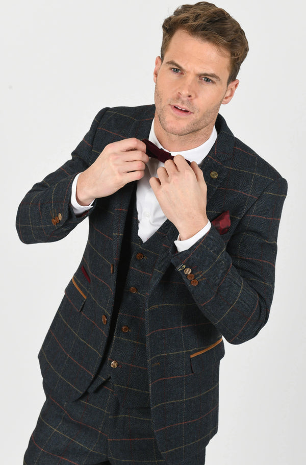 Eton Navy Check Peaky Blinder Tweed Suit - Mens Tweed Suits