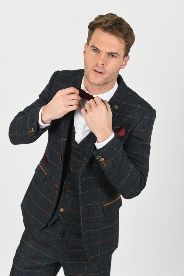 Eton Navy Check Tweed Wedding Suit - Mens Tweed Suits