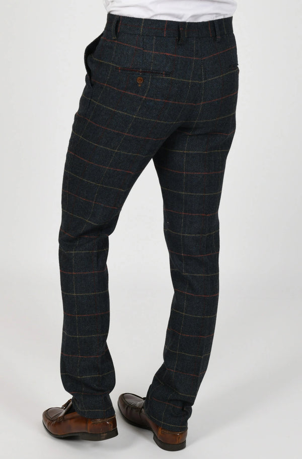 Eton Navy Check Tweed Trouser | Marc Darcy