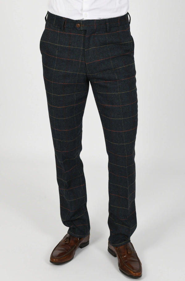 Eton Navy Check Tweed Trouser | Marc Darcy - Mens Tweed Suits