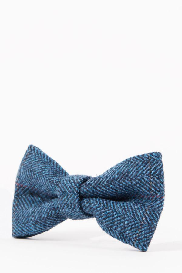 Dion Blue Tweed Check Bow Tie - Mens Tweed Suits