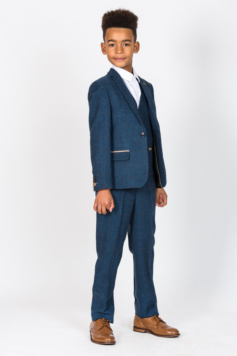 Dion Childrens Blue Tweed Check Three Piece Suit - Mens Tweed Suits