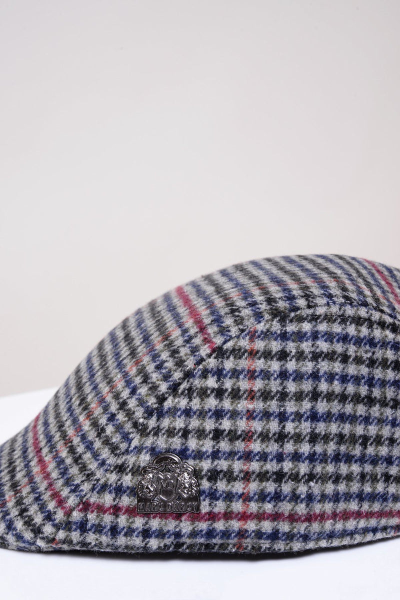 Edward Navy Grey Check Tweed Flat Cap - Mens Tweed Suits