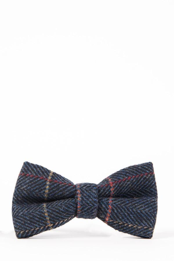 Eton Navy Check Tweed Bow Tie - Mens Tweed Suits