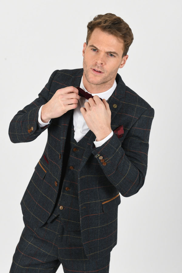 Eton Blue Tweed Jacket and Waistcoat Set