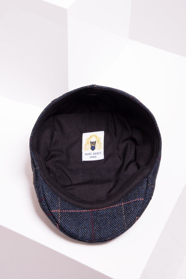 Eton Navy Blue Check Tweed Flat Cap - Mens Tweed Suits