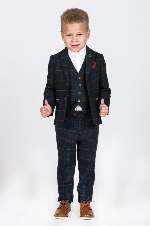 ETON - Children's Navy Tweed Check Three Piece Suit | Marc Darcy - Mens Tweed Suits