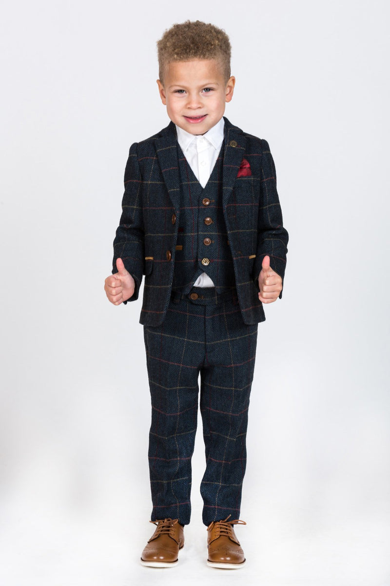 Boys Navy Blue Tweed Suits | Boys Tweed Suits | Marc Darcy Suits | Mens Tweed Suits