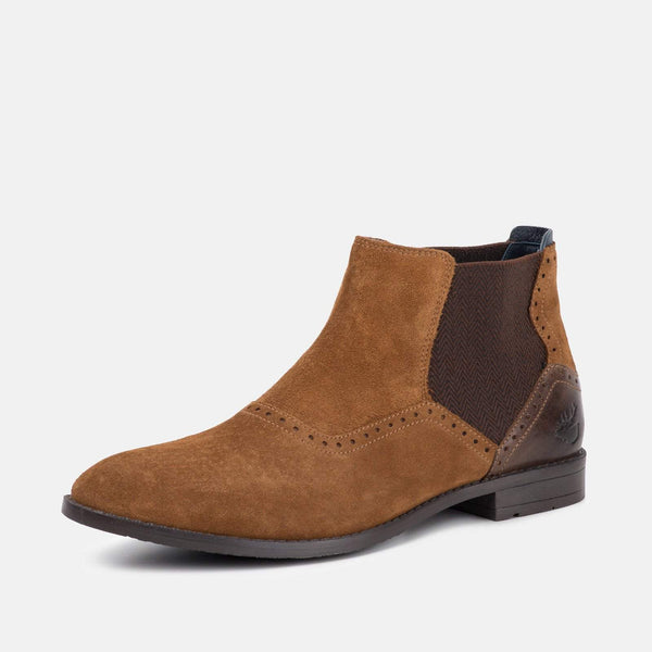 BUCKDEN TAN SUEDE CHELSEA BOOTS - Mens Tweed Suits
