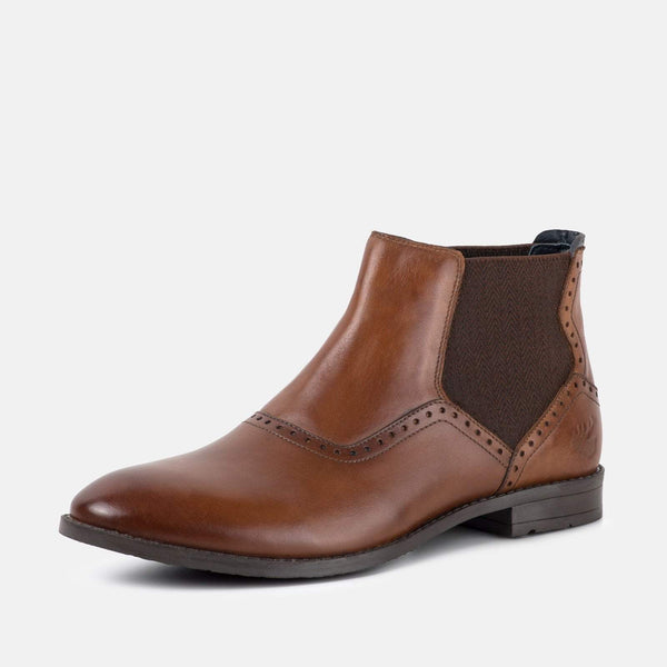 BUCKDEN TAN LEATHER CHELSEA BOOT - Mens Tweed Suits