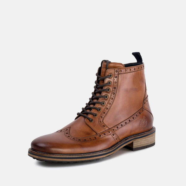 TAN SMART CASUAL LEATHER BROGUE BOOT - Mens Tweed Suits
