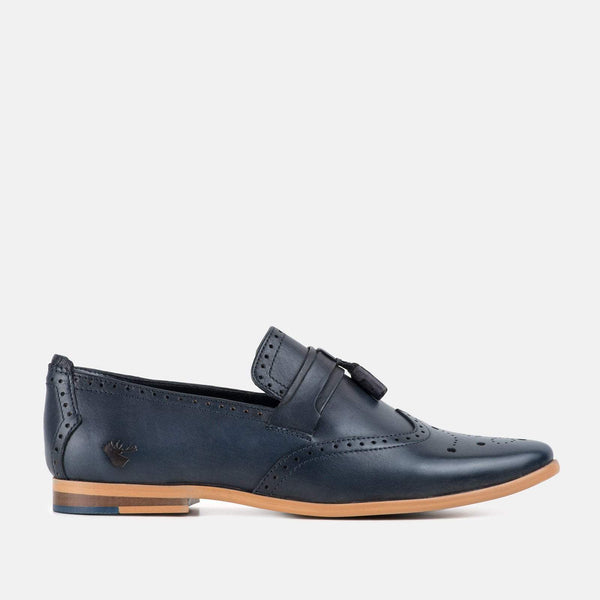 Capri Navy Mens Loafer Shoe by Goodwin Smith | Mens Tweed Suits