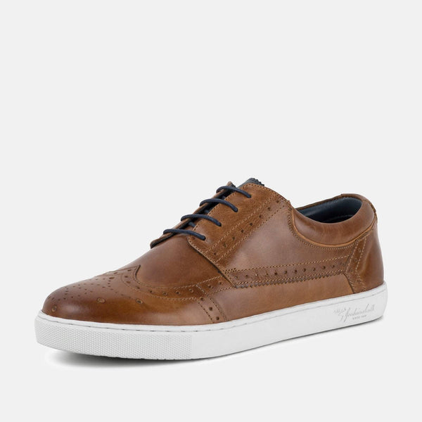 Tan smart brogue plimsoll leather GoodwinSmith shoe | Mens tweed suits