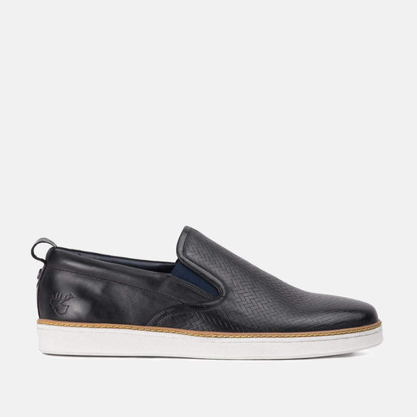 Maldini Black Leather Trainer by Goodwin Smith | Mens Tweed Suits