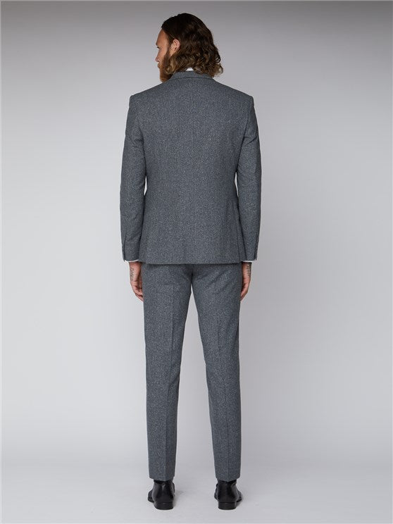 Essentials Grey Tweed Tailor Fit Suit - Mens Tweed Suits