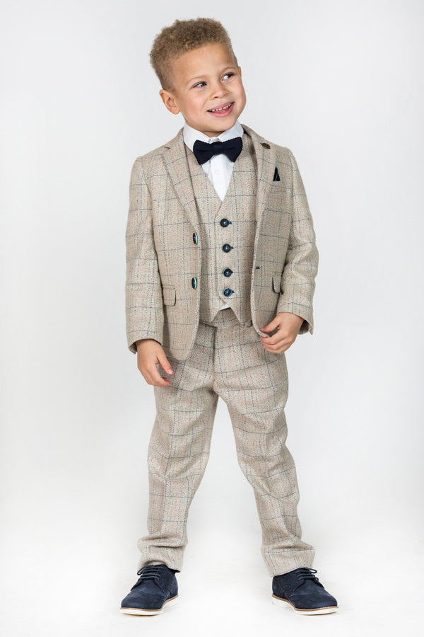 HARDING - Childrens Cream Tweed Check Three Piece Suit | Marc Darcy menstweedsuits shop buy fashionable